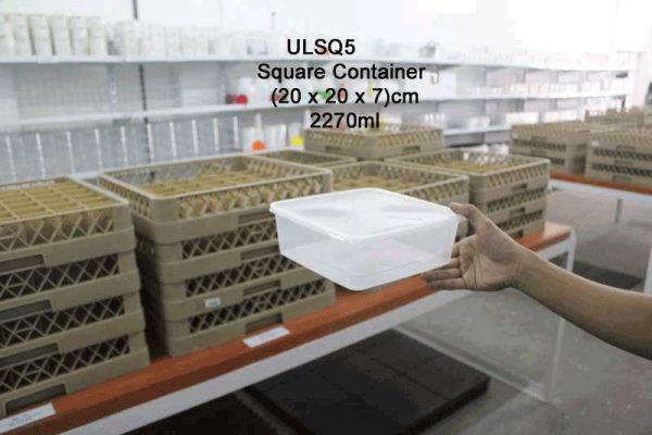 UL-SQ5 : Square Container 200 x 200 x 70 2270ml  transparan - UL